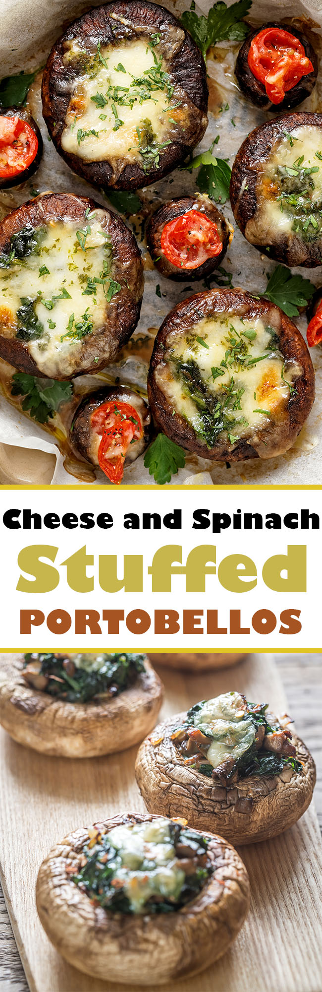 SFDGFDSGFDGS - Cheese and Spinach Stuffed Portobellos