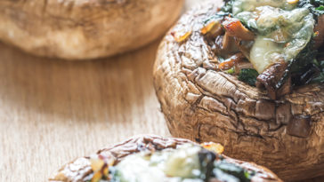 gagsfsfsaf 364x205 - Cheese and Spinach Stuffed Portobellos